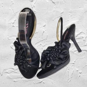 Nina Black Formal Open Toe Slingback Heels Sz 9M